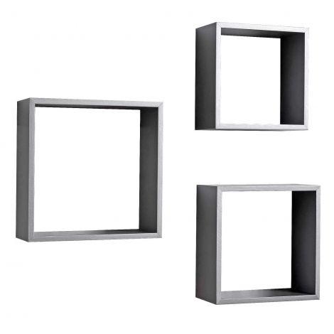 Set mit 3 Wandhalterungen Regal quadratisch - grau