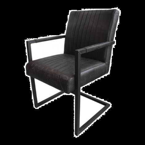 2er-Set Esszimmerstühle Texas mit Armlehnen Yachtleder/Metall graphit