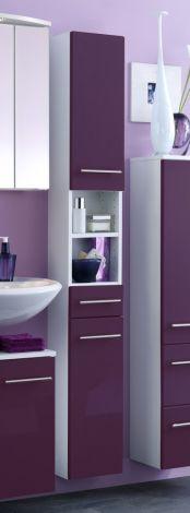 Säulenschrank Small 25cm 1 Schublade und 2 Türen - hochglänzend lila