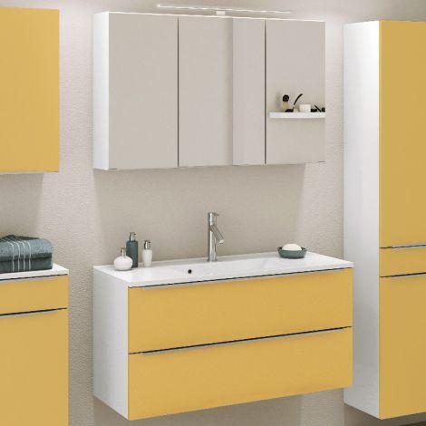 Badkombination Hansen 6 Waschtisch und Spiegelschrank 100cm - gelb/weiß