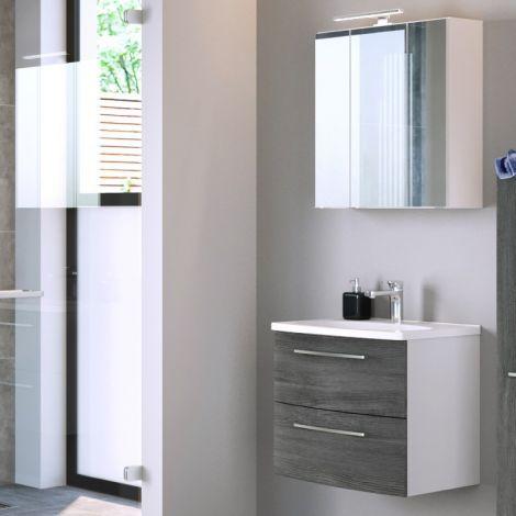 Badezimmer-Kombination Gene 6 60cm - weiß/graue Eiche