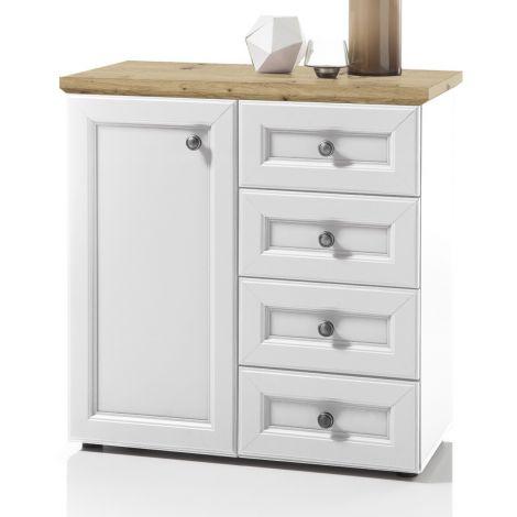 Sideboard Norah 82cm mit Tür und 4 Schubladen - weiß/braun