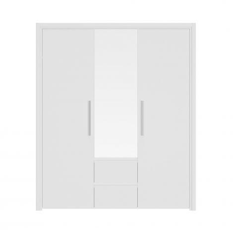 ABBY - Armoire 3 portes 2 tiroirs Blanc
