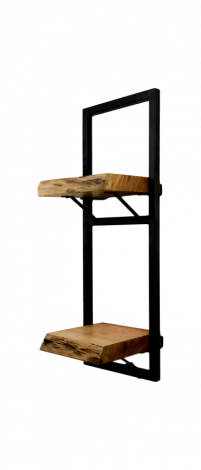 Wandregal Ebenen Live Edge - 25x70 cm - Akazie / Eisen