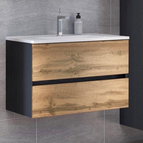 Waschtischunterschrank Luna 80cm 2 Schubladen - graphit/quecksilber