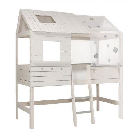 Halbhohes Hüttenbett Silversparkle - white wash