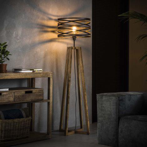 Stehlampe aus Holz mit Kreuzrahmen - Slate grey