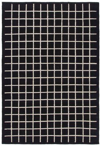 Teppich Kilim Box 200x140 Kariert - Schwarz Elfenbein