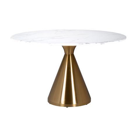 Esstisch Tennis 130cm - gold/weiß