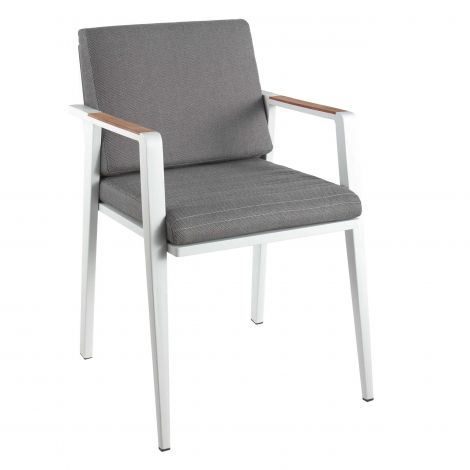 Antibes dining chair alu white / cush grey / teak