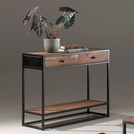 Beistelltisch Tatum 100cm mit 2 Schubladen industriell - recyceltes Holz