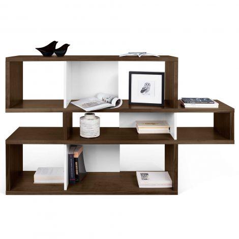 Bücherschrank Lissabon 1 - Nussbaum/weiß