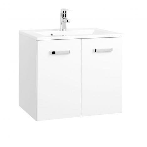 Waschbeckenschrank Bobbi 60cm mit 2 Türen und Keramikspüle - weiß