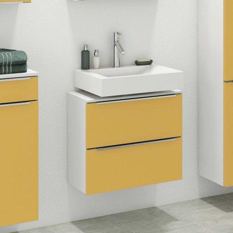 Waschbeckenschrank Hansen 60cm 2 Schubladen - gelb/weiß