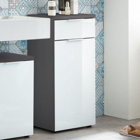 Badezimmerschrank Sepp mit 1 Tür und 1 Schublade - graphitgrau