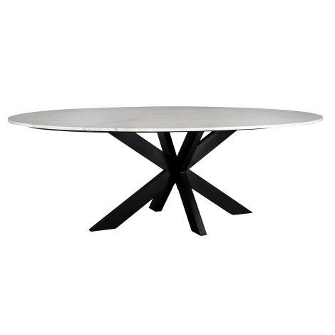 Esstisch Lexington oval 230cm - weiß/schwarz