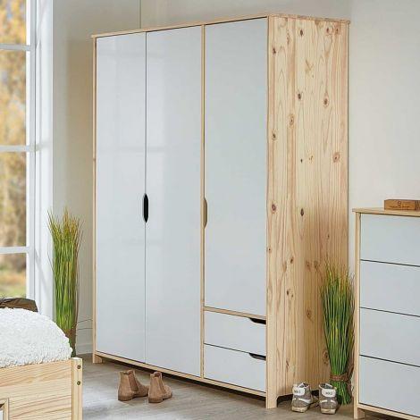 146cm Kleiderschrank Eidur mit 3 Türen und 2 Schubladen - natur