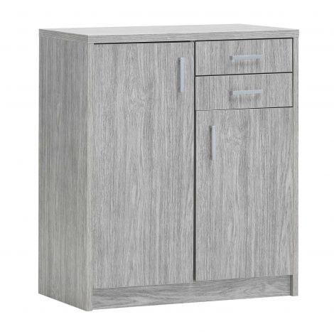 Kommode Spacio 84cm 2 Türen/2 Schubladen - Eiche grau
