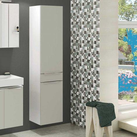 Säulenschrank Hansen 40cm 2 Türen und 1 Schublade - grau/weiß