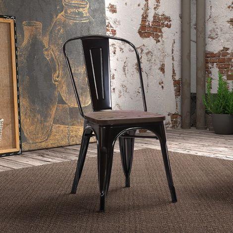 Satz von 4 Stühlen Victoria - schwarz
