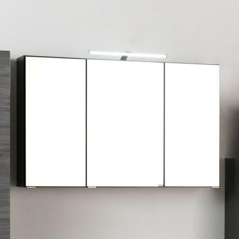 Spiegelschrank Florent 120cm mit 3 Türen und LED-Beleuchtung - graphit
