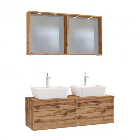 Doppelwaschtischschrank mit Spiegel Dasa 120cm 4 Schubladen - wotan eiche