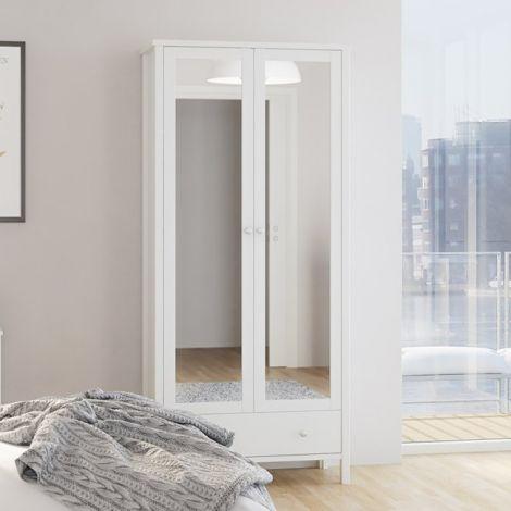 Kleiderschrank Tarik 89cm mit 2 Spiegeltüren und Schublade - weiß