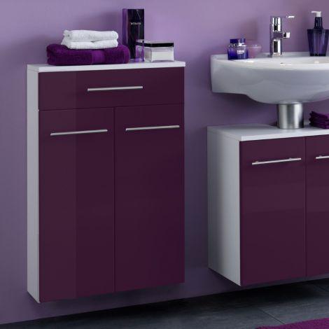 Badezimmerschrank Small 50cm 1 Schublade und 2 Türen - hochglänzend lila