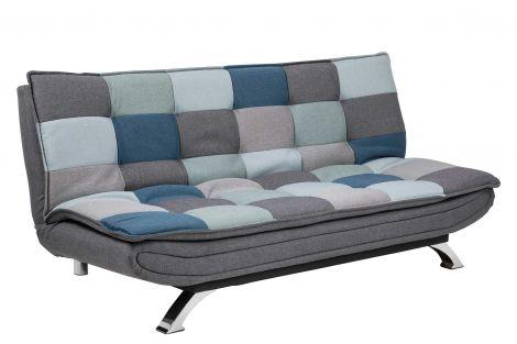 Faith sofa bed, patchwork - chrome, grey/blue