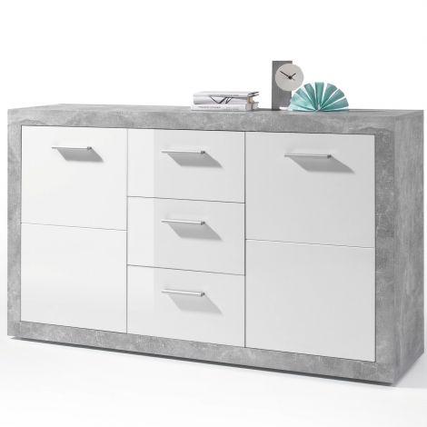 Sideboard Stanno 147 cm mit 2 Türen und 3 Schubladen - Beton/Weiß