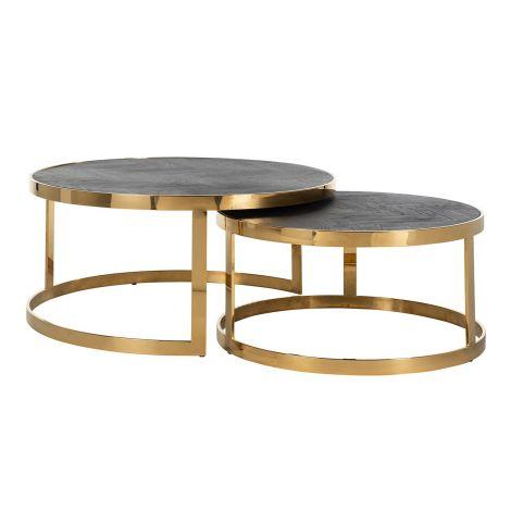 2er-Set Couchtische Bony - schwarz/glänzend gold
