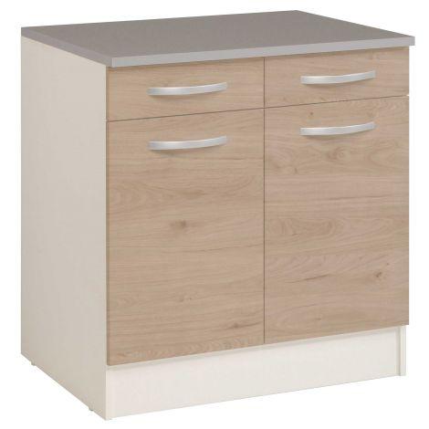 Unterschrank Eko 80cm 2 Türen und 2 Schubladen - Eiche