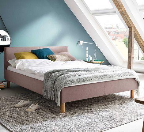 Gestoffeerd bed Lena - 140x200 cm - Oude roos