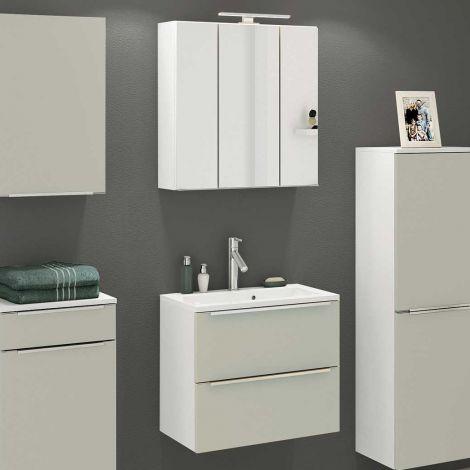 Badkombination Hansen 9 Waschtisch und Spiegelschrank 60cm - grau/weiß