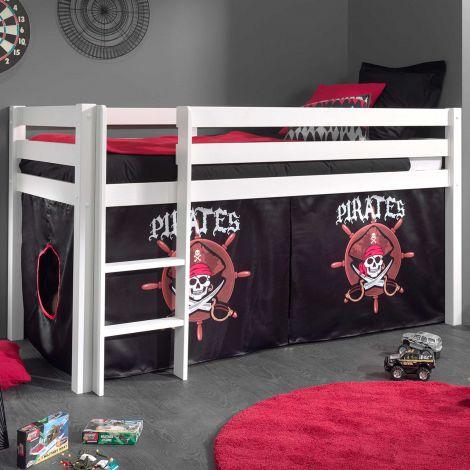 Halbhochbett Charlotte weiß mit Piratenspielzelt