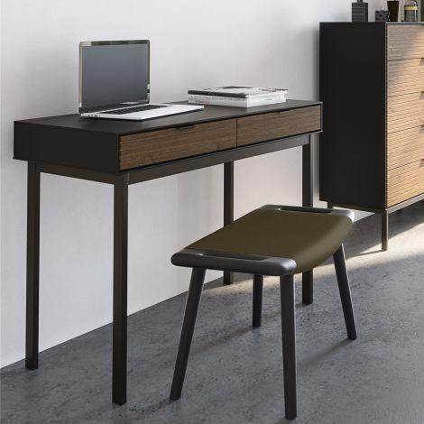 Schreibtisch Selma 100cm mit Schubladen - schwarz/braun