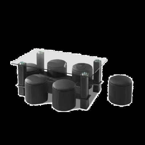 Couchtisch Bent mit 6 Hockern - schwarz