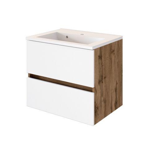 Waschtischunterschrank Luna 60cm 2 Schubladen - Eiche/Weiß