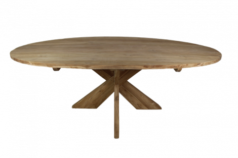 Ovaler Esstisch mit Schrittfuß - 240x120 cm - natur - Teakholz
