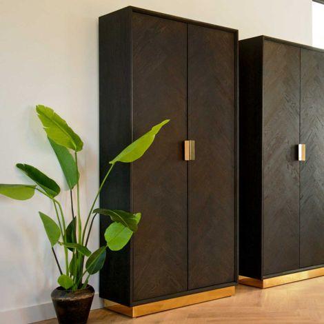 Hängeschrank Bony 100cm 2 Türen - schwarz/gold