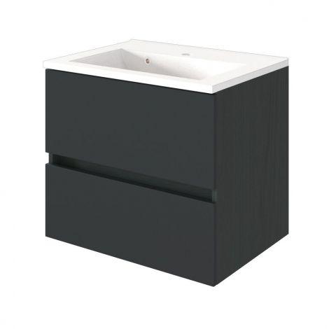 Waschtischunterschrank Brama 60cm 2 Schubladen - graphit/mattgrau