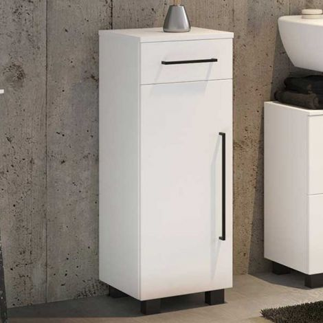 Badezimmerschrank Dusan 30 cm mit 1 Tür und 1 Schublade - weiß