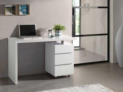 Schreibtisch Tuur - Hochglanz weiß