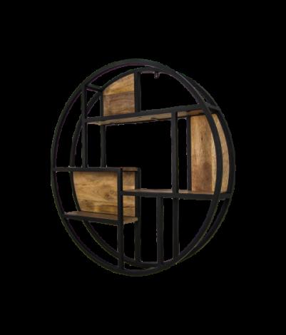 Wanddekorationsgestell - ø100 cm - Mangoholz / Eisen