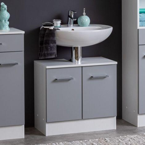 Waschbeckenschrank Ricca 60cm 1 Tür und 3 Schubladen - weiß/hellgrau