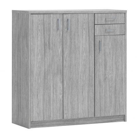 Kommode Spacio 110cm 3 Türen/2 Schubladen - Eiche grau
