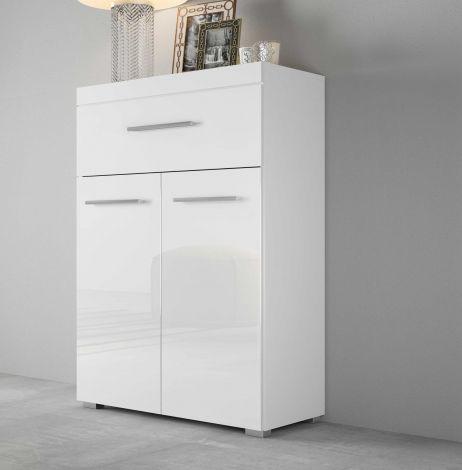 Sideboard Tristan 2 Türen und 1 Schublade - Hochglanz weiß
