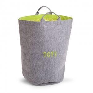 Runde Spielzeugtasche aus Filz - grau/hellgrün