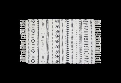 Teppich Boha B 180x120 Baumwolle schwarz/weiss