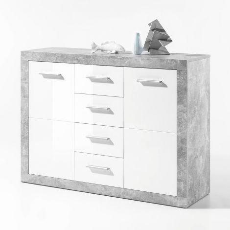 Kommode Stanno 117 cm mit 2 Türen und 4 Schubladen - Beton/Weiß